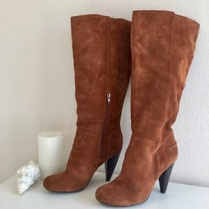 Soft suede stacked heel boots